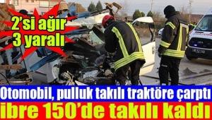 Feci kaza! Traktördeki Pulluk Otomobile Saplandı